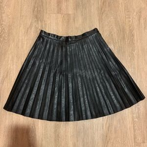 JCREW Faux Leather Pleated Mini Skirt